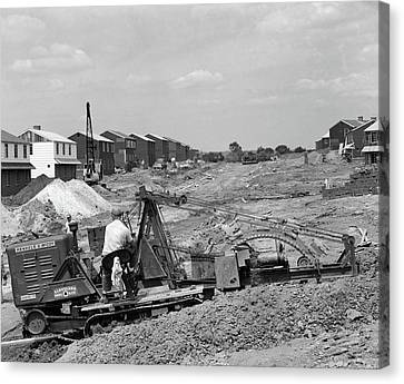 Drain Canvas Print - 1950s Construction Mechanical Plumbing by Vintage Images