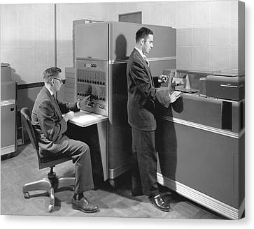 1950s Data Machines Canvas Print by Underwood Archives
