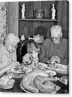 Anticipation Canvas Print - 1950s Family Thanksgiving Dinner by Vintage Images