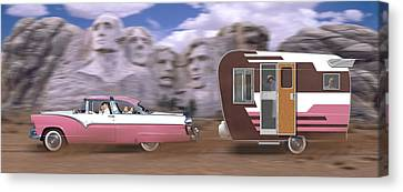 1950s Family Vacation Panoramic Canvas Print by Mike McGlothlen