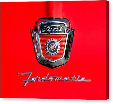 1950's Ford F-100 Fordomatic Pickup Truck Hood Emblems Canvas Print by Jill Reger