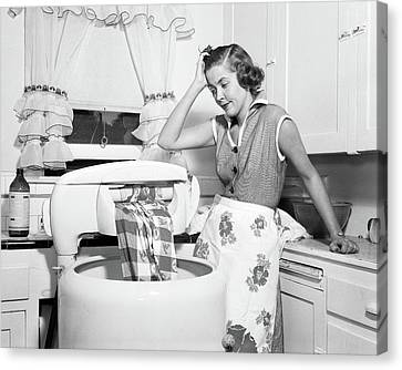 Copy Machine Canvas Print - 1950s Frustrated Housewife With Jammed by Vintage Images