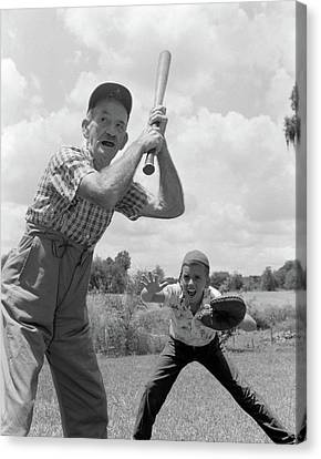 Anticipation Canvas Print - 1950s Grandfather At Bat With Grandson by Vintage Images