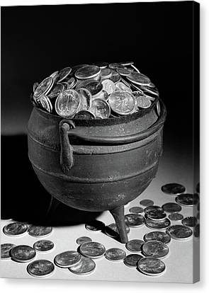 Silver-filled Canvas Print - 1950s Iron Pot Overflowing With Coins by Vintage Images