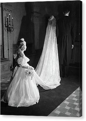 Maid Of Honor Canvas Print - 1950s Little Flower Girl Maid Of Honor by Vintage Images