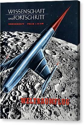 1950s Magazine On Spaceflight Canvas Print by Detlev Van Ravenswaay