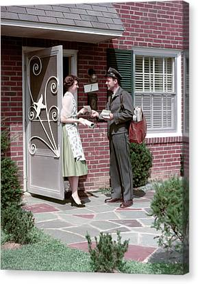 Screen Doors Canvas Print - 1950s Mailman Letter Carrier Delivering by Vintage Images