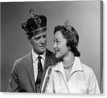 Husband And Wife Canvas Print - 1950s Man & Woman Wearing King & Queen by Vintage Images