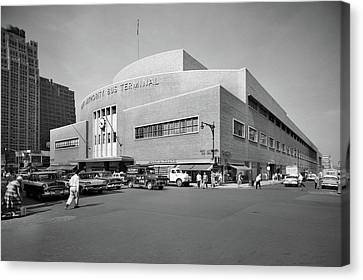 Old Bus Stations Canvas Print - 1950s Port Authority Bus Terminal 8th by Vintage Images