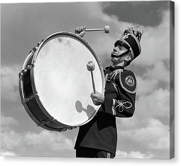 Drummer Canvas Print - 1950s Portrait Of Boy In Marching Band by Vintage Images