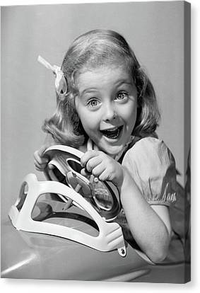 Pleasure Driving Canvas Print - 1950s Portrait Of Little Girl Driving by Vintage Images