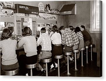 Stainless Steel Canvas Print - 1950s Rear View Of Group Of Teenage by Vintage Images