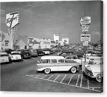 Drugstore Canvas Print - 1950s Shopping Center Parking Lot by Vintage Images