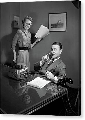 Copy Machine Canvas Print - 1950s Smiling Woman Secretary Holding by Vintage Images