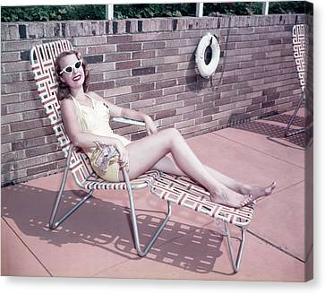Chaise Canvas Print - 1950s Smiling Woman Sun Bathing Wearing by Vintage Images