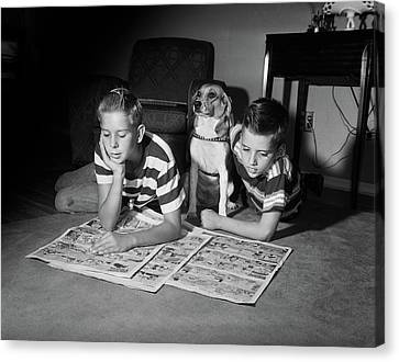 Bonding Canvas Print - 1950s Two Boys Reading Sunday Comics by Vintage Images