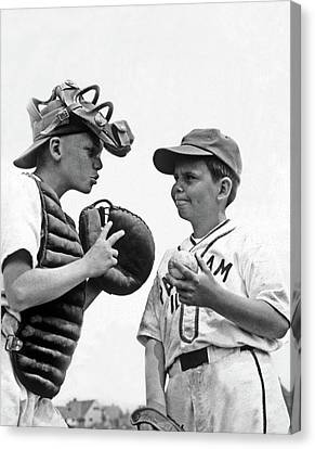 Old Pitcher Canvas Print - 1950s Two Boys Wearing Little League by Vintage Images