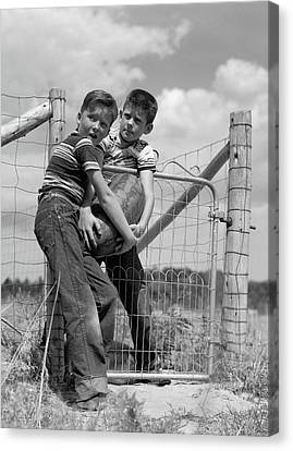 Watermelon Canvas Print - 1950s Two Farm Boys In Striped T-shirts by Vintage Images