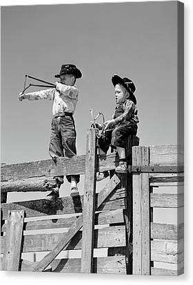 Bonding Canvas Print - 1950s Two Young Boys Dressed As Cowboys by Vintage Images