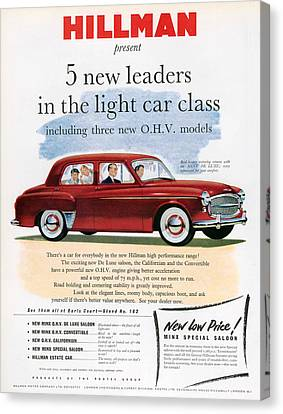 1950s Uk Hillman Magazine Advert Canvas Print by The Advertising Archives