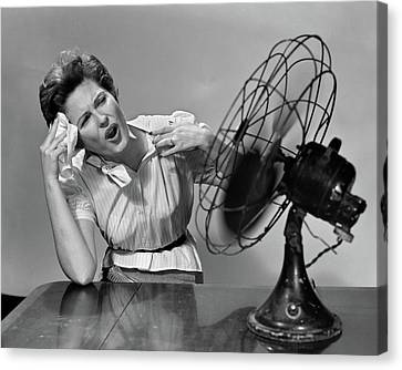 Sweating Canvas Print - 1950s Very Hot Woman Wiping Forehead by Vintage Images