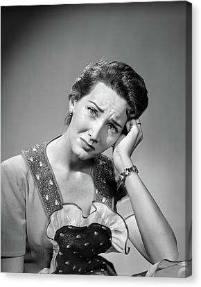 Communication Problems Canvas Print - 1950s Woman Housewife In Apron Looking by Vintage Images
