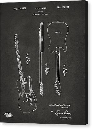 1951 Fender Electric Guitar Patent Artwork - Gray Canvas Print by Nikki Marie Smith