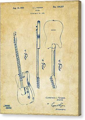 1951 Fender Electric Guitar Patent Artwork - Vintage Canvas Print by Nikki Marie Smith