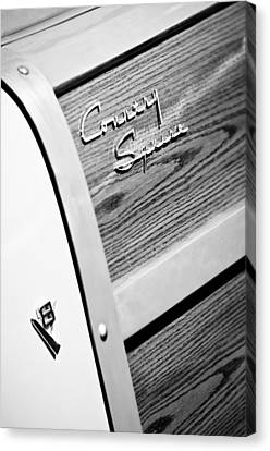 1951 Ford Country Squire Woody Wagon Side Emblems -3369bw Canvas Print by Jill Reger