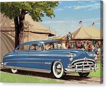 1951 Hudson Hornet Blank Greeting Card Canvas Print by Walt Curlee