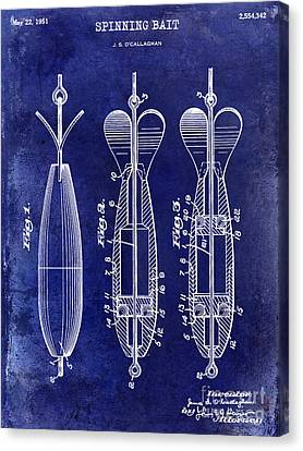 1951 Spinning Bait Patent Drawing Blue Canvas Print