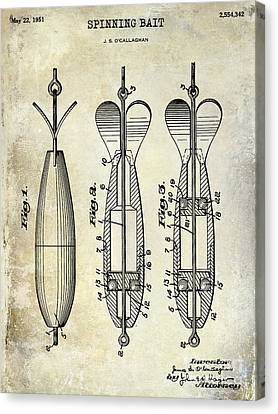 1951 Spinning Bait Patent Drawing Canvas Print
