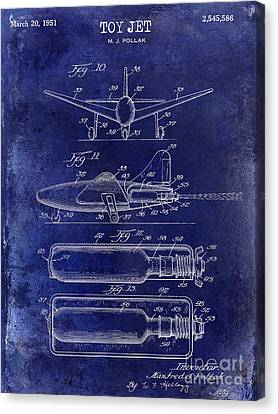 1951 Toy Jet Patent Drawing Blue Canvas Print by Jon Neidert
