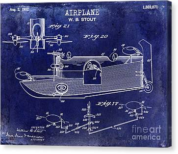 Vintage Airplane Canvas Print - 1932 Airplane Patent Drawing Blue by Jon Neidert