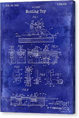 Boxer Canvas Print - 1952 Boxing Toy Patent Drawing Blue by Jon Neidert