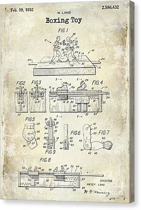 1952 Boxing Toy Patent Drawing Canvas Print by Jon Neidert