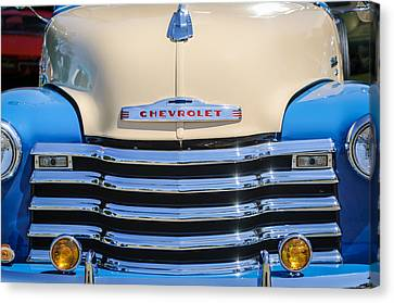 Chevrolet Pickup Truck Canvas Print - 1952 Chevrolet Pickup Truck Grille Emblem by Jill Reger