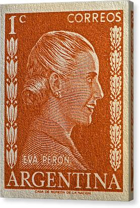 1952 Eva Peron Argentina Stamp Canvas Print by Bill Owen