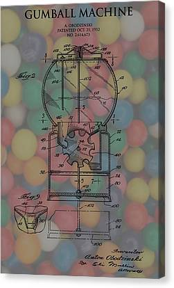 Spin Canvas Print - 1952 Gumball Machine Patent Poster by Dan Sproul