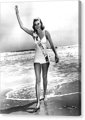 1952 Miss America On Beach Canvas Print