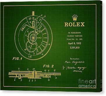 Parchment Canvas Print - 1952 Rolex Calendar Timepiece 1 by Nishanth Gopinathan