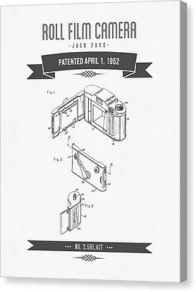 1952 Roll Film Camera Patent Drawing - Retro Gray Canvas Print by Aged Pixel