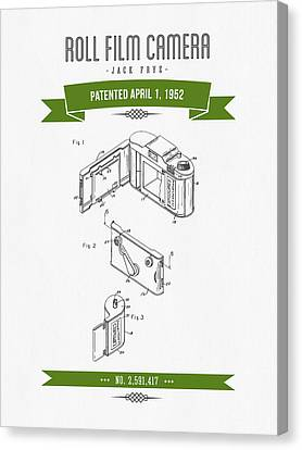 1952 Roll Film Camera Patent Drawing - Retro Green Canvas Print by Aged Pixel