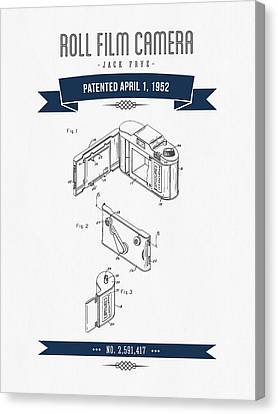 1952 Roll Film Camera Patent Drawing - Retro Navy Blue Canvas Print by Aged Pixel