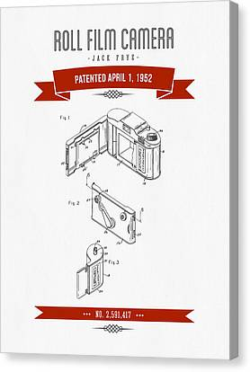 1952 Roll Film Camera Patent Drawing - Retro Red Canvas Print by Aged Pixel