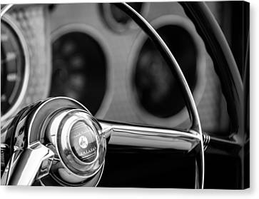 Sterling Canvas Print - 1952 Sterling Gladwin Maverick Sportster Steering Wheel Emblem -1848bw by Jill Reger