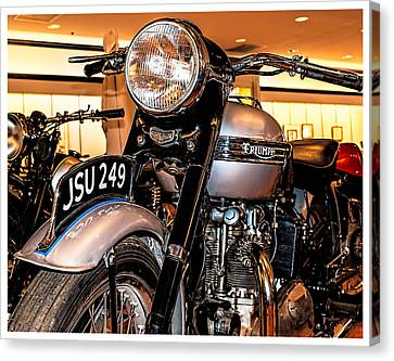 Canvas Print featuring the photograph 1952 Triumph Tiger 100 by Steve Benefiel