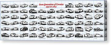 1953-2014-corvettes Canvas Print