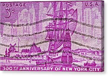 1953 300th Anniversary Of New York City Stamp Canvas Print by Bill Owen
