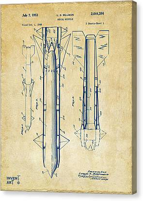 1953 Aerial Missile Patent Vintage Canvas Print by Nikki Marie Smith